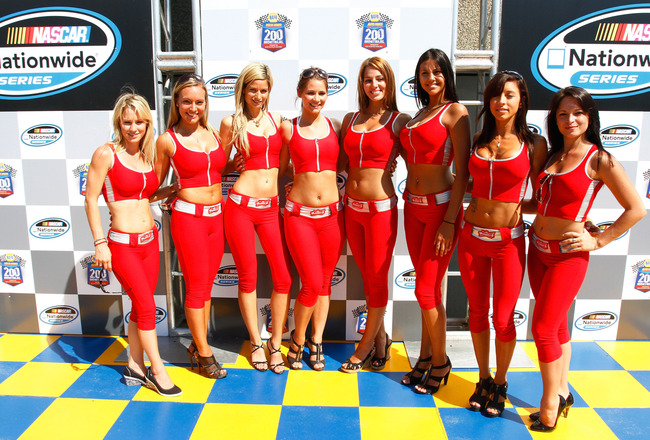 MONTREAL, QC - AUGUST 29: Grid girls pose in victory lane prior to the start of  the NASCAR Nationwide Series Napa Auto Parts 200 on August 29, 2010 at the Circuit Gilles Villeneuve in Montreal, Quebec, Canada. (Photo by Jason Smith/Getty Images)