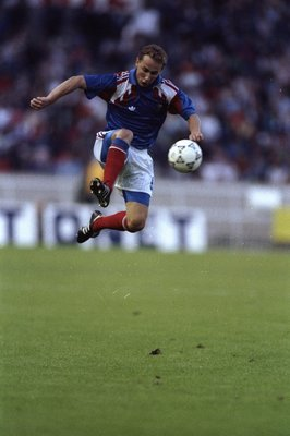 Aug 1990:  Jean Pierre Papin of France in action during a match against Poland in France. The match ended in a 0-0 draw. \ Mandatory Credit: Simon  Bruty/Allsport