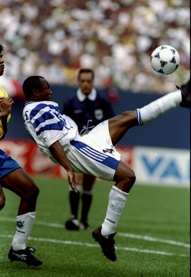 14 Jul 1996:  Abedi Pele of the FIFA Allstars kicks the ball during a game against Brazil at Giants Stadium in the Meadowlands in East Rutherford, New Jersey.  Brazil won the game 2-1. Mandatory Credit: Simon Bruty  /Allsport