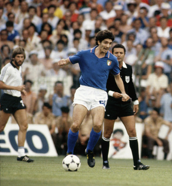 MADRID, SPAIN - JULY 5:  Paolo Rossi of Italy in action during the World Cup Final match between West Germany and Italy held at the Bernabeu Stadium, Madrid, Spain on July 11, 1982. Italy won the match 3-1. (Photo by Getty Images)