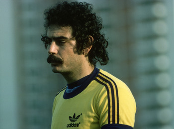 BRAZIL - 1977:  Portrait of Rivelino of Brazil during a training session held in 1977 in Brazil. (Photo by Getty Images)