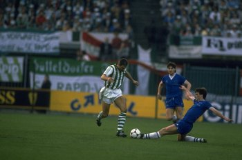 15 May 1985:  Kevin Ratcliffe (right) of Everton tackles Krankl (left) of Rapid Vienna during the European Cup Winners Cup Final at the Feyenoord Stadium in Rotterdam, Netherlands. Everton won the match 3-1. \ Mandatory Credit: David  Cannon/Allsport