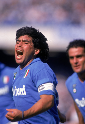 May 1988: Diego Maradona of Napoli celebrates a goal during an Italian Serie A match against AC Milan at the San Paolo Stadium in Naples, Italy. Milan won the match 3-2. \ Mandatory Credit: Dave Cannon /Allsport