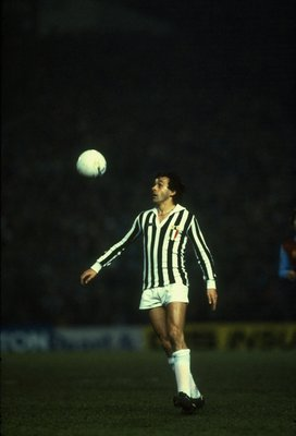 2 March 1983:  Michel Platini of Juventus in action during the European Cup quarter-final against Aston Villa at Villa Park in Birmingham, England. Juventus won the match 2-1. \ Mandatory Credit: David  Cannon/Allsport