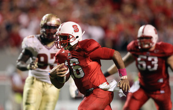 RALEIGH, NC - OCTOBER 28:  Russell Wilson #16 of the North Carolina State Wolfpack runs with the ball against the Florida State Seminoles during their game at Carter-Finley Stadium on October 28, 2010 in Raleigh, North Carolina.  (Photo by Streeter Lecka/