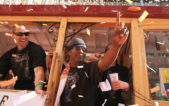 SAN FRANCISCO - NOVEMBER 03:  Edgar Renteria of the San Francisco Giants celebrates during the Giants' vicotry parade on November 3, 2010 in San Francisco, California. Thousands of Giants fans lined the streets of San Francisco to watch the San Francisco