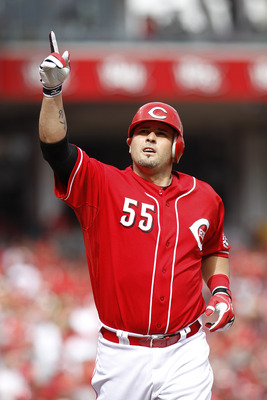 CINCINNATI, OH - MAY 14: Ramon Hernandez #55 of the Cincinnati Reds celebrates in the third inning after hitting the first of his two home runs against the St. Louis Cardinals at Great American Ball Park on May 14, 2011 in Cincinnati, Ohio. The Reds defea