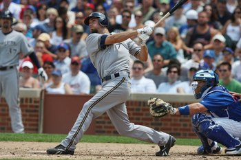 CHICAGO - JULY 03:  J.J. Hardy #7 of the Milwaukee Brewers at bat against the Chicago Cubs during their MLB game on July 3, 2009 at Wrigley Field in Chicago, Illinois. (Photo by Jonathan Daniel/Getty Images)
