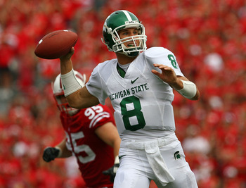 MADISON, WI - SEPTEMBER 26:  Kirk Cousins #8 of the Michigan State Spartans passes the ball against the Wisconsin Badgers on September 26, 2009 at Camp Randall Stadium in Madison, Wisconsin.  (Photo by Jonathan Daniel/Getty Images)