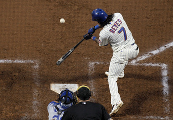 NEW YORK, NY - MAY 07:  Jose Reyes #7 of the New York Mets connects on a second inning RBI single against the Los Angeles Dodgers on May 7, 2011 at Citi Field in the Flushing neighborhood of the Queens borough of New York City.  (Photo by Jim McIsaac/Gett