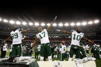"Jets' ""Flight Boys"" celebrating their victory over the Patriots in the 2011 NFL Playoffs."