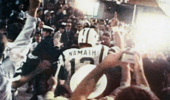 Jets Quarterback Joe Namath after beating the Baltimore Colts in Super Bowl III.