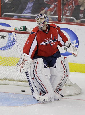 WASHINGTON, DC - MARCH 29:  Goalie Semyon Varlamov #1 of the Washington Capitals looks up after giving up the game clinching goal in a shootout against the Carolina Hurricanes at the Verizon Center on March 29, 2011 in Washington, DC.  (Photo by Rob Carr/