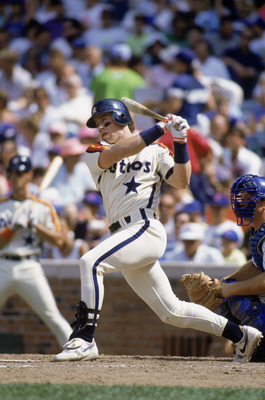 CHICAGO - 1991:  First baseman Jeff Bagwell #5 of the Houston Astros swings at the pitch during the MLB game against the Chicago Cubs at Wrigley Field during the 1991 season in Chicago, Illinois.  (Photo by Jonathan Daniel/Getty Images)