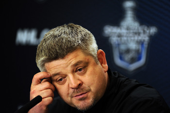 VANCOUVER, BC - MAY 16:  Head Coach Todd McLellan of the San Jose Sharks speaks to the media at a press conference during the Stanley Cup Western Conference Finals practice at the Rogers Arena on May 16, 2011 in Vancouver, Canada.  (Photo by Harry How/Get