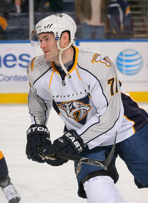 BUFFALO, NY - MARCH 20: JP Dumont #71 of the Nashville Predators warms up prior to a game against the Buffalo Sabres at HSBC Arena on March 20, 2011 in Buffalo, New York. Nashville won 4-3 in overtime.  (Photo by Rick Stewart/Getty Images)