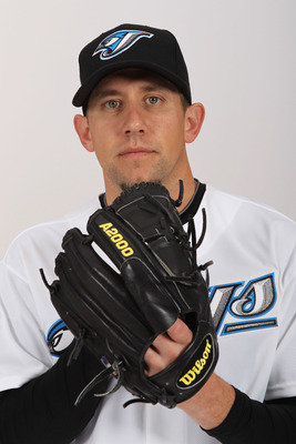 DUNEDIN, FL - FEBRUARY 20:  Shawn Camp #57 of the Toronto Blue Jays poses during photo day at Florida Auto Exchange Stadium on February 20, 2011 in Dunedin, Florida.  (Photo by Nick Laham/Getty Images)