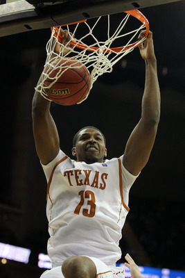 KANSAS CITY, MO - MARCH 11:  Tristan Thompson #13 of the Texas Longhorns dunks the ball against the Texas A&M Aggies during their semifinal game in the 2011 Phillips 66 Big 12 Men's Basketball Tournament at Sprint Center on March 11, 2011 in Kansas City,