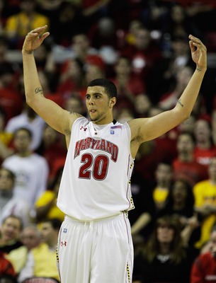 COLLEGE PARK, MD - FEBRUARY 20: Jordan Willaims #20 of the  Maryland Terrapins celebrates against the NC State Wolfpack at the Comcast Center on February 20, 2011 in College Park, Maryland.  (Photo by Rob Carr/Getty Images)