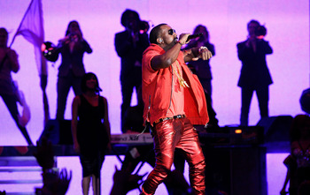 LOS ANGELES, CA - FEBRUARY 20:  Rapper Kanye West performs during the 2011 NBA All-Star game halftime show at Staples Center on February 20, 2011 in Los Angeles, California. NOTE TO USER: User expressly acknowledges and agrees that, by downloading and or