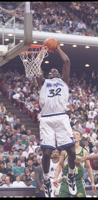 2 Feb 1995:  Center Shaquille O''Neal of the Orlando Magic goes up for two during a game against the Seattle SuperSonics at Orlando Arena in Orlando, Florida.  The SuperSonics won the game, 106-103. Mandatory Credit: Allsport  /Allsport