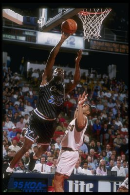 4 Mar 1994:  Guard Nick Anderson of the Orlando Magic goes up for two during a game against the Denver Nuggets at McNichols Arena in Denver, Colorado. Mandatory Credit: Tim DeFrisco  /Allsport Mandatory Credit: Tim DeFrisco  /Allsport