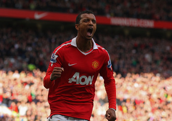 MANCHESTER, ENGLAND - OCTOBER 16:  Nani of Manchester United celebrates after scoring the second goal during the Barclays Premier League match between Manchester United and West Bromwich Albion at Old Trafford on October 16, 2010 in Manchester, England.