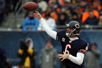 CHICAGO, IL - JANUARY 16:  Quarterback Jay Cutler #6 of the Chicago Bears throws the ball in the first quarter against the Seattle Seahawks in the 2011 NFC divisional playoff game at Soldier Field on January 16, 2011 in Chicago, Illinois.  (Photo by Jonat