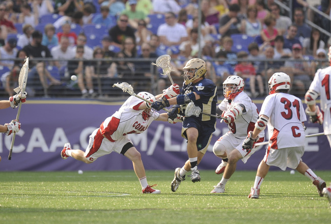 BALTIMORE, MD - MAY 29:  Steve Murphy #16 of the Notre Dame Fighting Irish takes a shot agianst the Cornell Big Red during the 2010 NCAA Division 1 Lacrosse Semifinal Championship game on May 29, 2010 at M & T Bank Stadium in Baltimore, Maryland.  (Photo