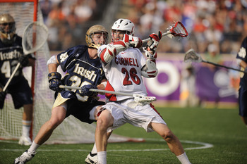 BALTIMORE, MD - MAY 29:  Ryan Hurley #26 of the Cornell Big Red tries to get a pass off against Kevin Randell #39 of the Notre Dame Fighting Irish during the 2010 NCAA Division 1 Lacrosse Semifinal Championship game on May 29, 2010 at M & T Bank Stadium i