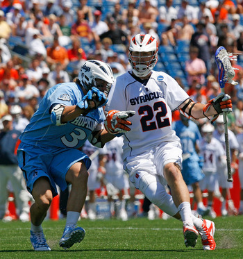 FOXBORO, MA - MAY 26:  Dan Hardy #22 of the Syracuse Orange drives against Andrew Miller #3 of the Johns Hopkins Blue Jays during the NCAA Lacrosse Championship at Gillette Stadium on May 26, 2008 in Foxboro, Massachusetts. Hardy scored three goals in the