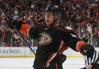 ANAHEIM, CA - APRIL 15:  Cam Fowler #4 of the Anaheim Ducks celebrates Teemu Selanne's goal against the Nashville Predators in the first period of Game Two of the Western Conference Quarterfinals during the 2011 NHL Stanley Cup Playoffs at Honda Center on