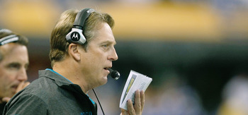 INDIANAPOLIS, IN - DECEMBER 19: Jack Del Rio of the Jacksonville Jaguars looks on against the Indianapolis Colts at Lucas Oil Stadium on December 19, 2010 in Indianapolis, Indiana. The Colts defeated the Jaguars 34-24.   (Photo by Scott Boehm/Getty Images
