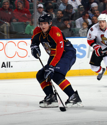 SUNRISE, FL - MARCH 10:  Dmitry Kulikov #7 of the Florida Panthers skates against the Ottawa Senators at the BankAtlantic Center on March 10, 2011 in Sunrise, Florida.  (Photo by Bruce Bennett/Getty Images)