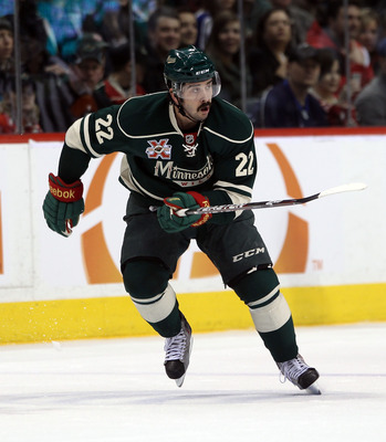 ST PAUL, MN - MARCH 22:  Cal Clutterbuck #22 of the Minnesota Wild skates against the Toronto Maple Leafs at the Xcel Energy Center on March 22, 2011 in St Paul, Minnesota.  (Photo by Bruce Bennett/Getty Images)