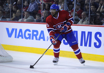 MONTREAL, CANADA - APRIL 21:  P.K. Subban #76 of the Montreal Canadiens skates up ice with the puck in Game Four of the Eastern Conference Quarterfinals against the Boston Bruins during the 2011 NHL Stanley Cup Playoffs at the Bell Centre on April 21, 201