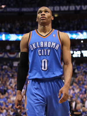 DALLAS, TX - MAY 17:  Russell Westbrook #0 of the Oklahoma City Thunder reacts while taking on the Dallas Mavericks in Game One of the Western Conference Finals during the 2011 NBA Playoffs at American Airlines Center on May 17, 2011 in Dallas, Texas. NOT