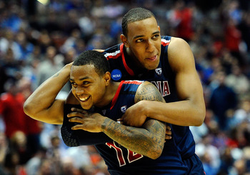 ANAHEIM, CA - MARCH 24:  Lamont Jones #12 and Derrick Williams #23 of the Arizona Wildcats reacts after a play against the Duke Blue Devils during the west regional semifinal of the 2011 NCAA men's basketball tournament at the Honda Center on March 24, 20