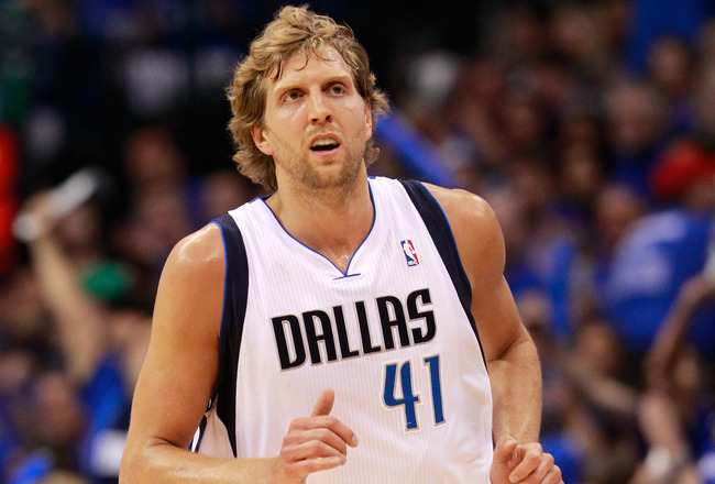 DALLAS, TX - MAY 17:  Dirk Nowitzki #41 of the Dallas Mavericks looks on while taking on the Oklahoma City Thunder in Game One of the Western Conference Finals during the 2011 NBA Playoffs at American Airlines Center on May 17, 2011 in Dallas, Texas. NOTE