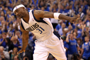 DALLAS, TX - MAY 17:  Jason Terry #31 of the Dallas Mavericks reacts while taking on the Oklahoma City Thunder in Game One of the Western Conference Finals during the 2011 NBA Playoffs at American Airlines Center on May 17, 2011 in Dallas, Texas. NOTE TO