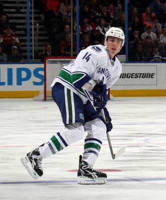 ATLANTA, GA - MARCH 25:  Alex Burrows #14 of the Vancouver Canucks skates against the Atlanta Thrashers at the Philips Arena on March 25, 2011 in Atlanta, Georgia.  (Photo by Bruce Bennett/Getty Images)