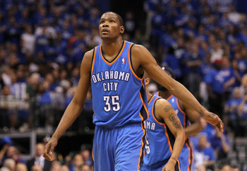 DALLAS, TX - MAY 17:  Kevin Durant #35 of the Oklahoma City Thunder reacts in the second half while taking on the Dallas Mavericks in Game One of the Western Conference Finals during the 2011 NBA Playoffs at American Airlines Center on May 17, 2011 in Dal
