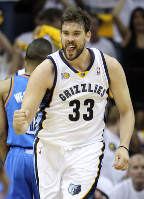 MEMPHIS, TN - MAY 09:  Marc Gasol #33 of the Memphis Grizzlies celebrates during the game against the Oklahoma City Thunder in Game Four of the Western Conference Semifinals in the 2011 NBA Playoffs at FedExForum on May 9, 2011 in Memphis, Tennessee. NOTE