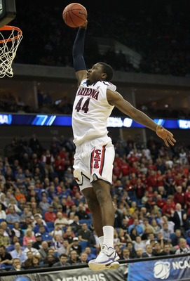 TULSA, OK - MARCH 18:  Solomon Hill #44 of the Arizona Wildcats goes up to dunk the ball against the Memphis Tigers during the second round of the 2011 NCAA men's basketball tournament at BOK Center on March 18, 2011 in Tulsa, Oklahoma.  (Photo by Ronald