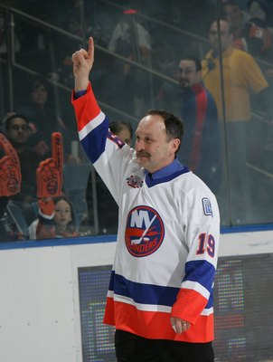 UNIONDALE, NY - MARCH 02:  Bryan Trottier of 'The 'Core of the Four' New York Islanders Stanley Cup championships take part in a ceremony prior to the Islanders game against the Florida Panthers on March 2, 2008 at the Nassau Coliseum in Uniondale, New Yo