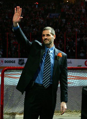 PHILADELPHIA - FEBRUARY 06:  Former Philadelphia Flyer Ron Hextall waves to the crowd as he is inducted into the Flyers Hall of Fame before the game against the Washington Capitals on February 6, 2008 at Wachovia Center in Philadelphia, Pennsylvania.  (Ph