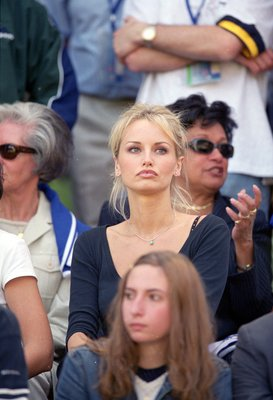16 Jun 2000:  Adriana Karembeu (Wife of French star Christian Karembeu) during the European Championship Group Stage match between France and the Czech Republic at the Jan Breydel Stadium, Brugge, Belgium. France won 2-1. \ Mandatory Credit: Graham Chadwi