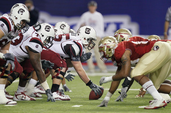 ATLANTA, GA - DECEMBER 31:  The South Carolina Gamecocks against the Florida State Seminoles during the 2010 Chick-fil-A Bowl at Georgia Dome on December 31, 2010 in Atlanta, Georgia.  (Photo by Kevin C. Cox/Getty Images)