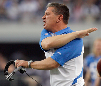 ARLINGTON, TX - NOVEMBER 21:  Head coach Jim Schwartz of the Detroit Lions reacts to a call from the officials while taking on the Dallas Cowboys at Cowboys Stadium on November 21, 2010 in Arlington, Texas.  The Cowboys beat the Lions 35-19.  (Photo by To