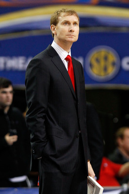 ATLANTA, GA - MARCH 10:  Head coach John Pelphrey of the Arkansas Razorbacks during the first round of the SEC Men's Basketball Tournament at the Georgia Dome on March 10, 2011 in Atlanta, Georgia.  (Photo by Kevin C. Cox/Getty Images)